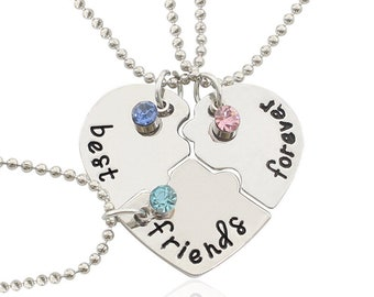 Puzzle piece necklace for 3 best friends, BFF bestie gift, best friends forever, silver rhinestone jewerly, inspiring gift for grad,coworker