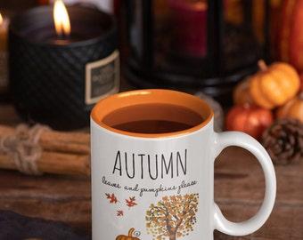 Fall coffee mug, autumn leaf & ceramic pumpkin spice gift for Thanksgiving,Halloween,coffee latte lovers, cozy sweater weather, birthday mug