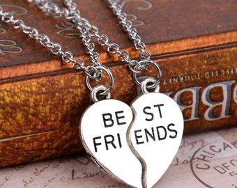 Best Friend Necklace, Matching 2 set silver heart jewelry for BFF, bridesmaids,student grad gift, co-worker, sisters birthday, Christmas
