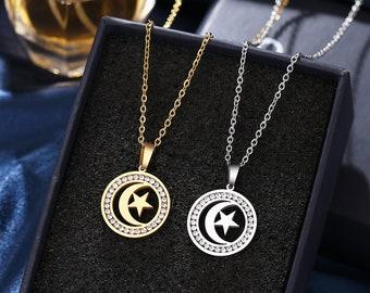 Moon star rhinestone necklace,handmade jewerly, crystal rhinestone quality pendant, astrology lovers, grad gift, tarot, birthday Xmas gift