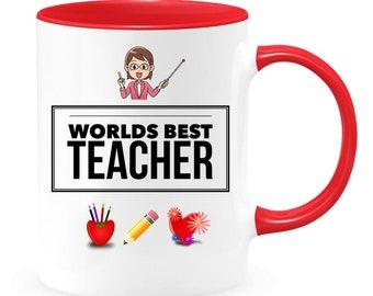 Teacher mug, Worlds best teacher gift,gift from student,teacher 1st grade, appreciation present,back to school gift,best teacher ever,friend