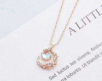 Moon necklace, gemstone gold crescent moon, star handmade jewerly, rhinestone quality pendant, astrology lovers, grad, tarot, birthday gift