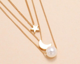 Moon necklace, crescent moon jewerly,3 necklace set,star,moon & pearl charm,astrology lovers, tarot,magic witch,birthday,grad,Christmas gift