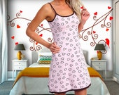 Women 39 s Natural Cotton Jersey Nightgown , Soft Pink Color Heart Print Camisole Nightdress, Low Cut Back, Noodle Shoulder Straps, Above Knee.