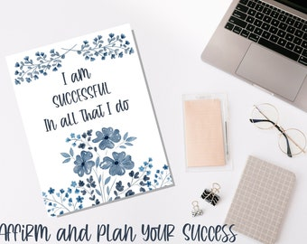 Romantic Blue Watercolor Floral Success Planner: Daily, Weekly, Monthly, & Yearly