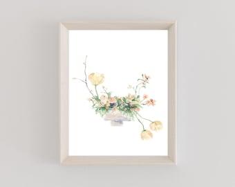 Watercolor Print | Chestnut & Peach | The Bouquet Collection | Florals | Botanical