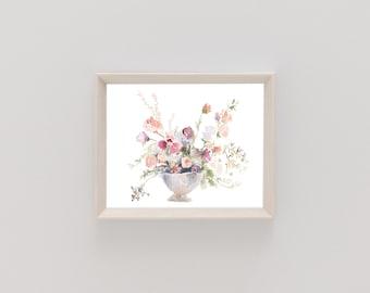 Watercolor Print | Mauve & Wine Bouquet | Botanical Print | Florals