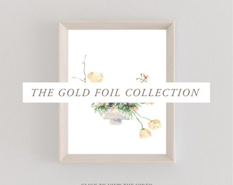 Gold Foil Collection | Chestnut & Peach | Watercolor Paintings