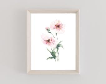 Watercolor Print | Butterfly Ranunculus | Floral Art Print | Botanical |