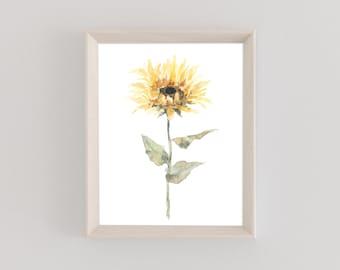 Watercolor Print | Single Sunflower | Floral | Fall Foliage | Botanical