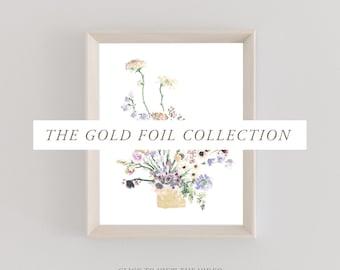 Gold Foil Collection | Lavender & Honey | Watercolor Prints