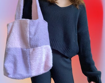 KUMO TOTE // little lilac + soft pink checkered cotton towelling timeless tote bag