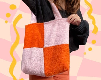 KUMO TOTE // orange + soft pink checkered cotton towelling timeless tote bag