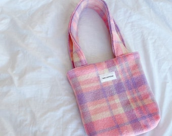 nano upcycled sakura woolly mini tote // upcycled from vintage wool blanket - fully lined with nano label