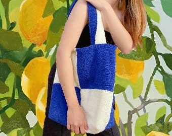 KUMO TOTE // royal blue & creamy white checkered cotton terry towelling timeless fluffy tote bag