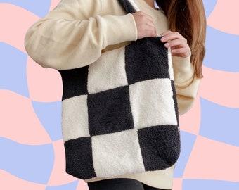 KUMO TOTE // black + cream checkered cotton towelling timeless tote bag