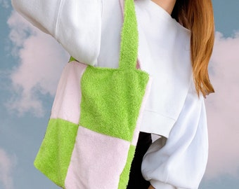 KUMO TOTE // grassy green + soft pink checkered cotton towelling timeless tote bag