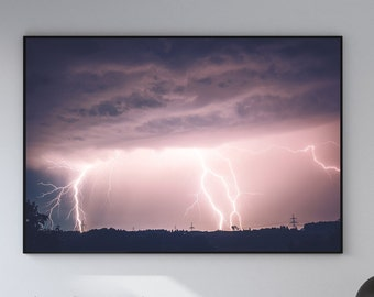 Lightning Strikes Landscape Canvas Poster