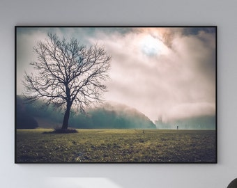 Lonely Tree Landscape Canvas Poster