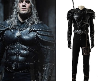 The Witcher Cosplay Costume Superhero Wizard Armour Costume For Adult Men , Halloween Carnival Costume Custom Made Faux Leather