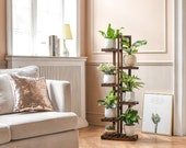 Wood Plant Shelf, 6 Tier Ladder Plant Pot Holder Stand for Indoor and Outdoor Decor