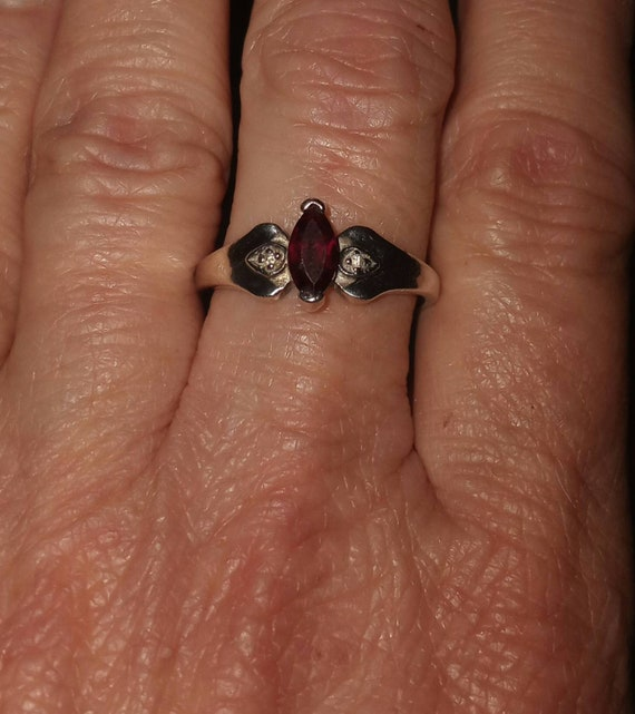 Sterling Silver Ruby & CZ Ring size 8 - image 1