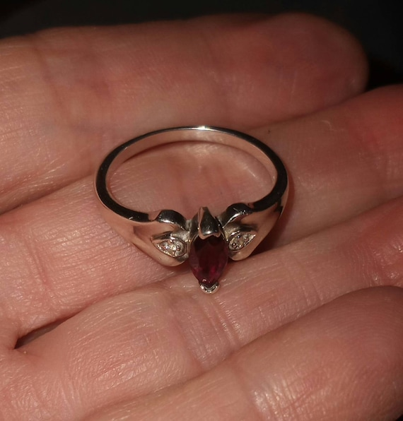 Sterling Silver Ruby & CZ Ring size 8 - image 2