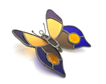 Vintage Stained Glass Butterfly Ornament
