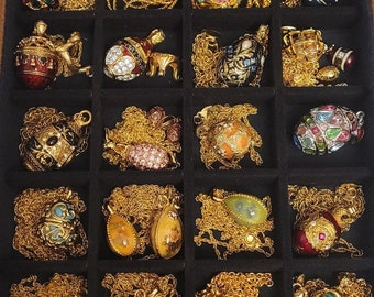 Rare Vintage Joan Rivers Collection Faberge Egg Necklaces- Lot of 21 Faberge Egg Pendants, plus one pair of mini Faberge Egg Earrings