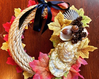Autumn Rope & Shell Wreath- 10inch