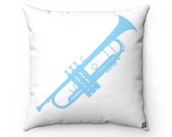 Trumpet Square Pillow - Diagonal Aqua Silhouette