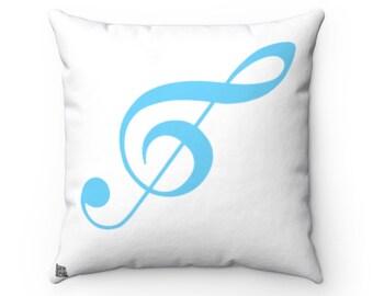 Treble Clef Square Pillow - Diagonal Aqua Silhouette