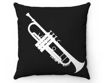 Black Trumpet Square Pillow - Diagonal Silhouette