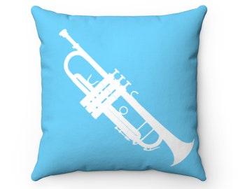 Aqua Trumpet Square Pillow - Diagonal Silhouette