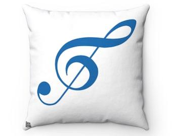 Treble Clef Square Pillow - Diagonal Blue Silhouette