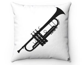 Trumpet Square Pillow - Diagonal Black Silhouette