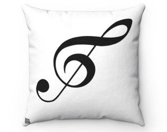 Treble Clef Square Pillow - Diagonal Black Silhouette