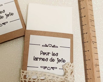 "Set of 10 Handkerchief Cases + craft label ""for tears of joy"" - wedding gift wedding guests tears of joy evjf survival kit sachet"
