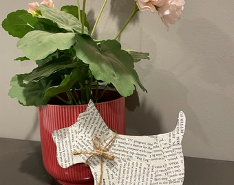 Small Wooden Dog Terrier Decoration with Torn Book Pages