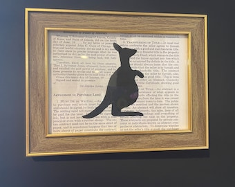 Animals on Book Pages in Gold and Wooden Frame