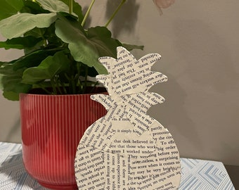 Small Standing Metal Pineapple Decoration with Torn Book Pages