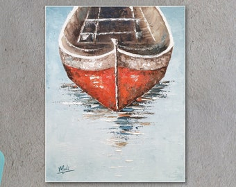 Original oil painting of a red boat, Texture abstract office decor art, Gift for sea lovers, surfer, captain, Turquoise, ship at the pier