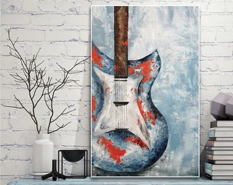 Original painting of blue guitar, wall art, hand made on canvas, rock and roll style, home decor painting, Original Gift for Musician