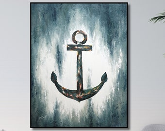 Original painting of anchor, A gift for a captain, for sea lovers. Thick paint, hanging on the wall.
