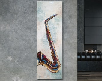 Original oil painting of saxophone for wall design, in an abstract style on high-quality canvas in technique with a spatula