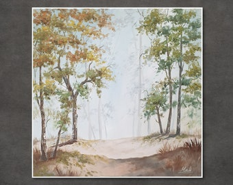 Original oil painting of a green forest. Autumn leaves, Living room wall art, bedroom design