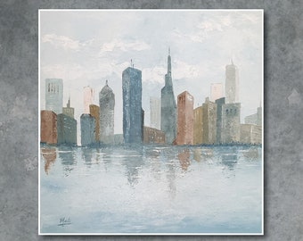 original oil painting of an urban landscape, a reflection on the water
