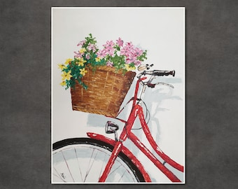 Original oil painting of a red bicycle with a basket of colorful flowers