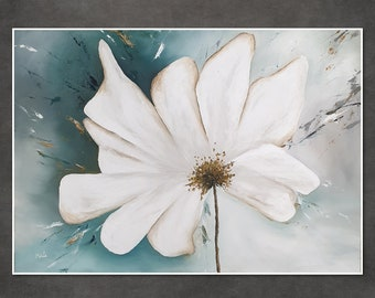 Original oil painting of a large white flower, suitable for living room and bedroom, romantic spring, large wall art