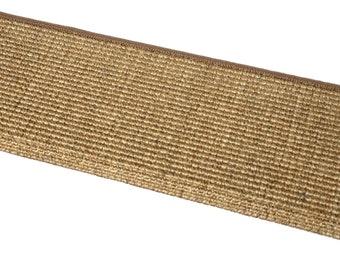 FHL Premium Pet Friendly Tape and Adhesive Free Non-Slip Bullnose Natural Sisal Carpet Stair Treads - Desert (Set of 3)